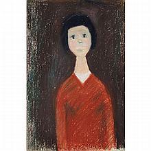 JEAN-PAUL LEMIEUX, R.C.A., JEUNE FEMME, coloured crayon, 11.75 ins x 8 ins; 29.8 cms x 20.3 cms