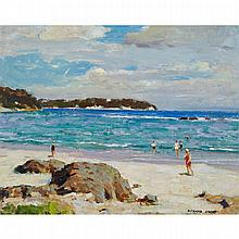 RICHARD JACK, R.C.A., UNTITLED - BATHERS ALONG A SANDY BEACH, oil on board, 16 ins x 20 ins; 40.6 cms x 50.8 cms