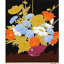 ALFRED JOSEPH CASSON, O.S.A., P.R.C.A., STILL LIFE WITH FLOWERS, gouache on paper, 12.5 ins x 10.5 ins; 31.8 cms x 26.7 cms