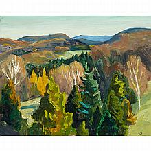EDWIN HEADLEY HOLGATE, R.C.A., FALL, LAURENTIANS, oil on panel, 8.5 ins x 10.5 ins; 21.6 cms x 26.7 cms