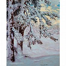 FRANK HANS JOHNSTON, O.S.A., A.R.C.A., SNOWY SOLITUDE, oil on board, 24 ins x 20 ins; 61 cms x 50.8 cms