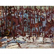 ALEXANDER YOUNG JACKSON, O.S.A., R.C.A., WINTER WOODS, oil on panel, 8.5 ins x 10.5 ins; 21.6 cms x 26.7 cms