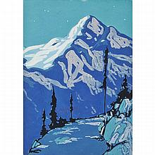 FRANK HANS JOHNSTON, O.S.A., A.R.C.A., NIGHT ABOVE LAKE LOUISE, tempera on card, 14 ins x 10 ins; 35.6 cms x 25.4 cms