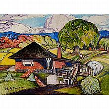 MARC-AURÈLE FORTIN, A.R.C.A., PAYSAGE À STE-ROSE (MY HOME), oil on masonite, 36 ins x 48 ins; 91.4 cms x 121.9 cms