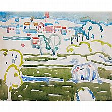 DAVID BROWN MILNE, PARK AND CITY, NEW YORK, watercolour on illustration board, 8 ins x 10 ins; 20.3 cms x 24.8 cms