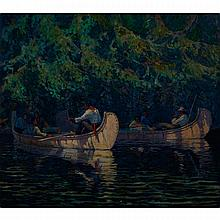 THOMAS WESLEY MCLEAN, PAUSING FOR A REST, ALGONQUIN PARK, oil on canvas, 32.25 ins x 36.25 ins; 82.6 cms x 91.4 cms