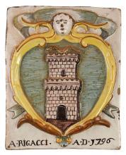 PLACCA IN MAIOLICA POLICROMA, FORNACE DELL'ITALIA MERIDIONALE, XVIII-XIX SECOLO