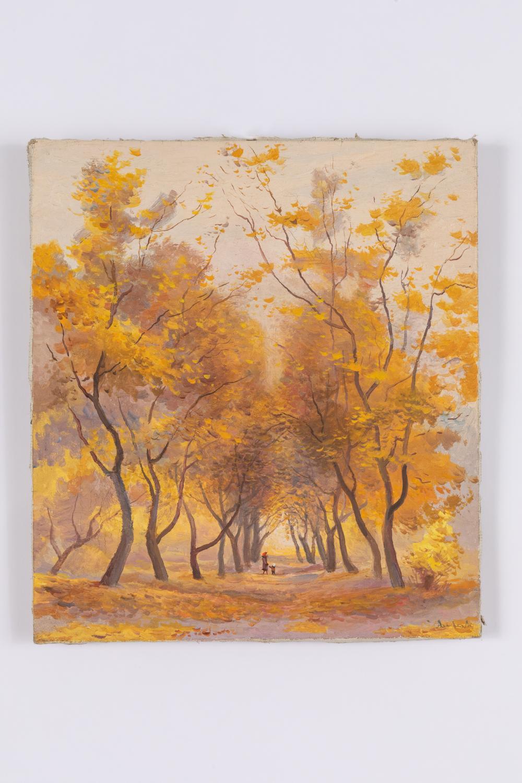 EVGENIY ANDREEVICH AGAFONOV 1879 - 1956 - Paesaggio autunnale con figure