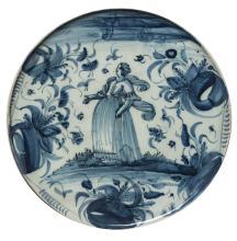 ALZATA IN MAIOLICA BIANCA E BLU, FORNACE DI SAVONA, XVIII-XIX SECOLO