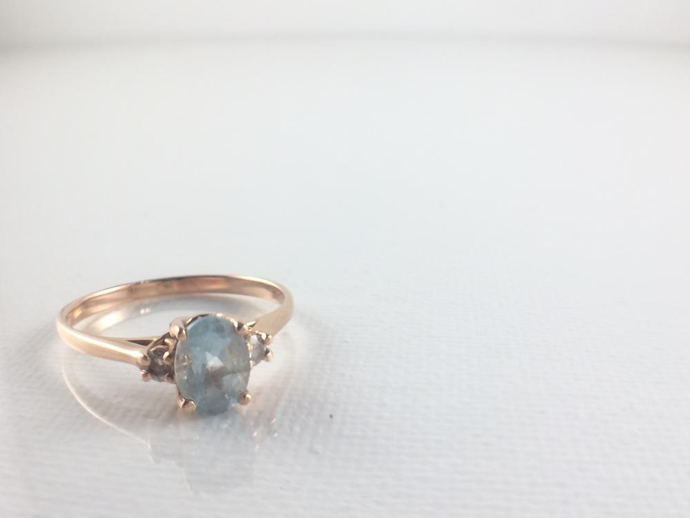 Mid Century Aquamarine and Diamond Engagement Ring