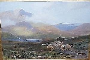 H. M. Clark. Scottish Loch with Sheep and Shepherd on Horseback. Watercolour. Heightened 13in x 20in. Signed