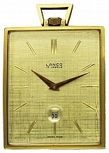 A GOLD FILLED RECTANGULAR TOP WIND LANCO POCKET