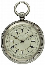 A LARGE GENTLEMAN'S SOLID SILVER FUSEE MARINE