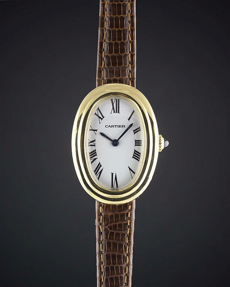 a ladies 18k solid gold cartier paris baignoire wrist watch. Black Bedroom Furniture Sets. Home Design Ideas