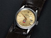 A VERY RARE GENTLEMAN'S STAINLESS STEEL ROLEX OYSTER PERPETUAL DATEJUST WRIST WATCH