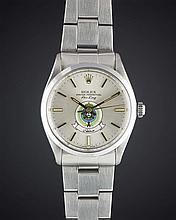 A RARE GENTLEMAN'S STAINLESS STEEL ROLEX OYSTER PERPETUAL AIR KING PRECISION BRACELET WATCH