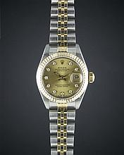 A LADIES STEEL & GOLD ROLEX OYSTER PERPETUAL DATEJUST BRACELET WATCH