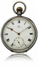 A GENTLEMAN'S SOLID SILVER OMEGA POCKET WATCH