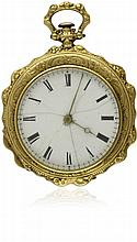 A LADIES 18K SOLID GOLD POCKET WATCH BY GIRARD &