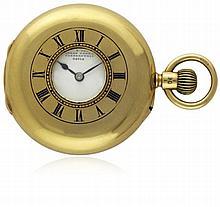 AN 18K SOLID GOLD ENGLISH HALF HUNTER POCKET WATCH