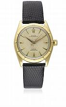 A RARE GENTLEMAN'S 18K SOLID GOLD ROLEX OYSTER PERPETUAL OFFICIALLY CERTIFIED CHRONOMETER WRIST WATCH