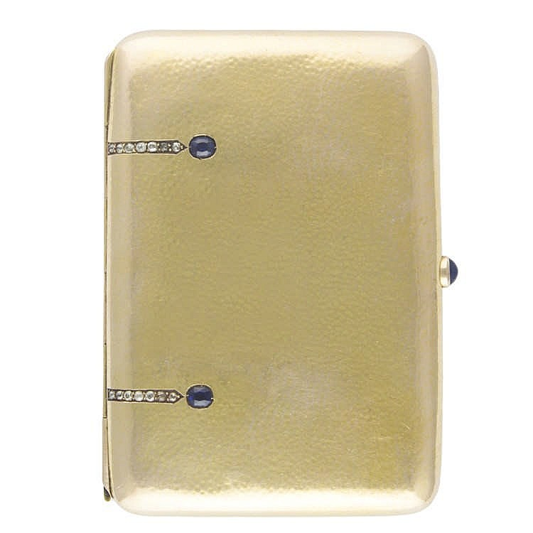 Cigarette Diamond: A 14K SOLID GOLD, DIAMOND & SAPPHIRE CIGARETTE CASE