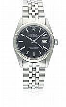 A GENTLEMAN'S STEEL & WHITE GOLD ROLEX OYSTER PERPETUAL DATEJUST BRACELET WATCH