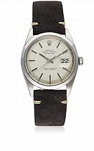 A GENTLEMAN'S STAINLESS STEEL ROLEX OYSTER PERPETUAL DATEJUST WRIST WATCH