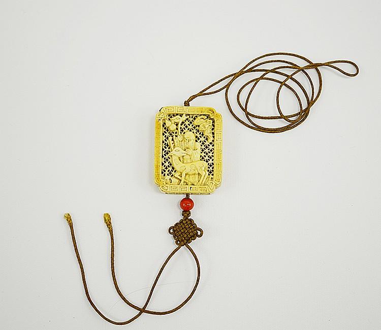 19th Century Chinese Pierced Ivory Sachet