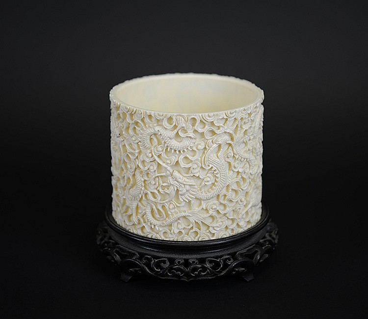 19th Century Chinese Carved Ivory Brush Pot