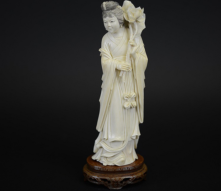 19th Century Chinese Ivory Figure with Lotus