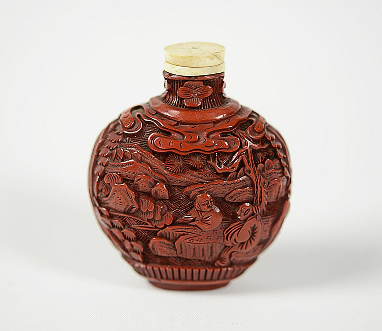 19th Century Chinese Cinnabar Snuff Bottle