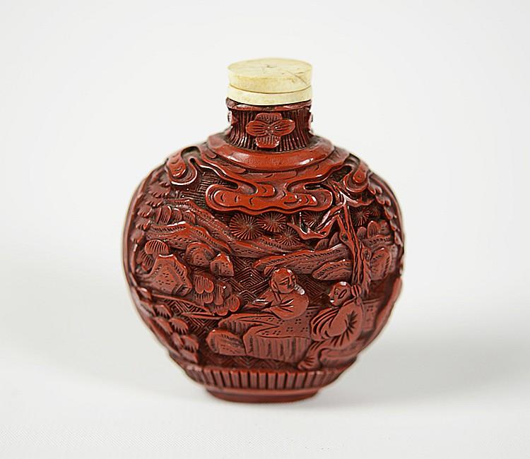 19th Century Chinese Cinnabar Snuff Bottle