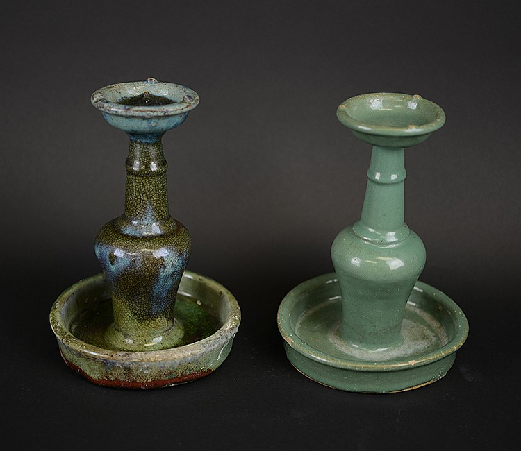 Pair of Chinese Shiwan Kiln Candlesticks