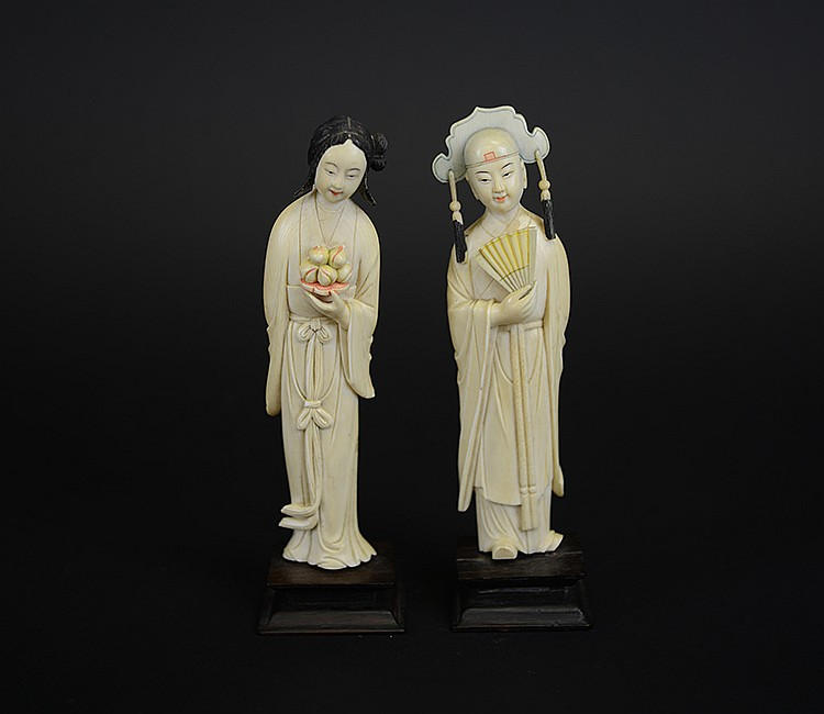 Pair of 19th Century Chinese Painted Ivory Figures