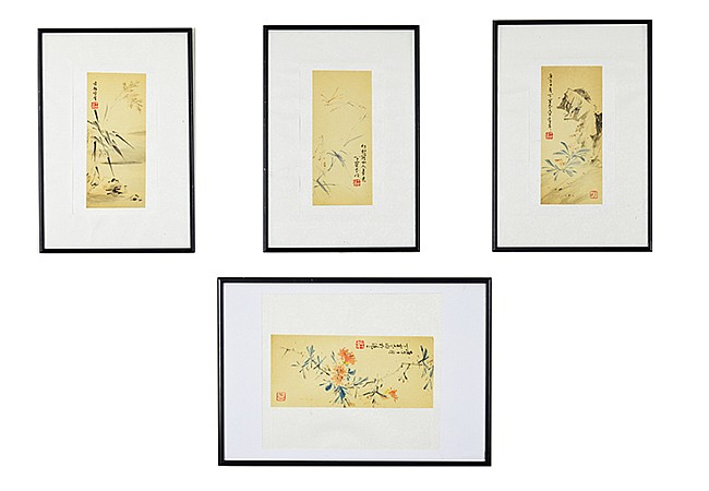 Ding Baoshu, Flowers and Insects, Set of Four