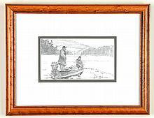 Peter Corbin (b. 1945), Two Fishermen in Canoe