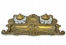 A Desktop Brass Double Inkwell