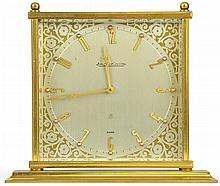 A Swiss Jaeger LeCoultre Brass Mantel Clock