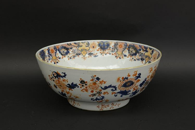 Mid 18th C. Chinese Imari Export Punch Bowl