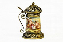 A Continental Enameled Silver Miniature Beer Stein