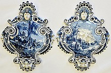 A Pair of Delft Ware Wall Plaques