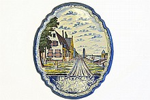 A Late 18th Century Delft Ware Wall Plaque