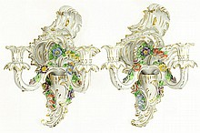 A Pair of Dresden Porcelain Wall Sconces
