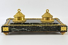 A Napoleon III Marble and Gilt Bronze Ink Well