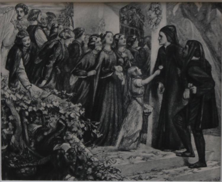 Rare photogravure of 'Beatrice Meeting Dante at a Marriage Feast' by Rossetti