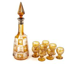 A Large 19th Century Bohemian Overlay Glass Liqueur Set