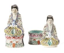 A Pair of Chinese Canton Enamel Painted Porcelain Figure Boxes