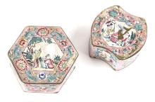 Two Chinese Cantonese Small Enamel Lidded Boxes C. 1900