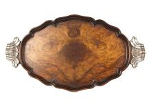 A Large 19th Century Walnut Butlers Tray with Silver Grip Handles